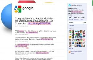 Google Profile in Twitter