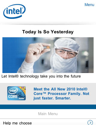 Intel mobile web design