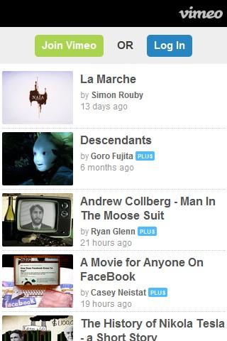 Vimeo mobile web design