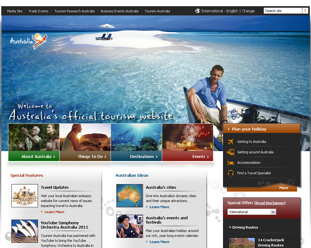 How web designers can be inspired by a travel website design - Australian tourism office ...