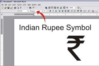 Rupee Sign in MS Word