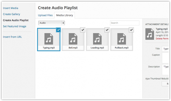 Playlist for Audio and Video