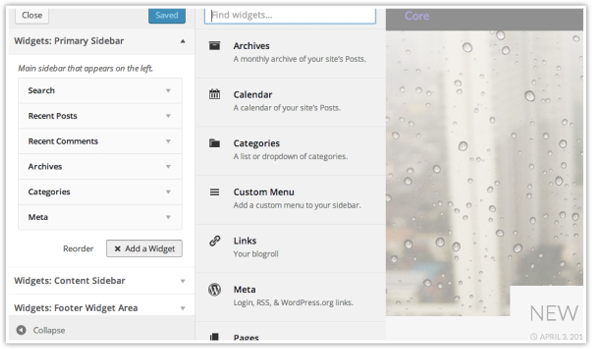 Theme Customizer Widget Previews