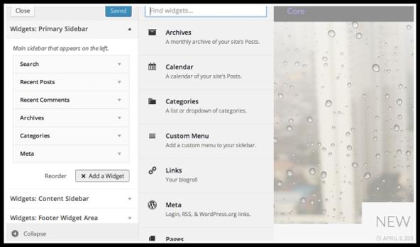 Theme Customizer Widget Previews