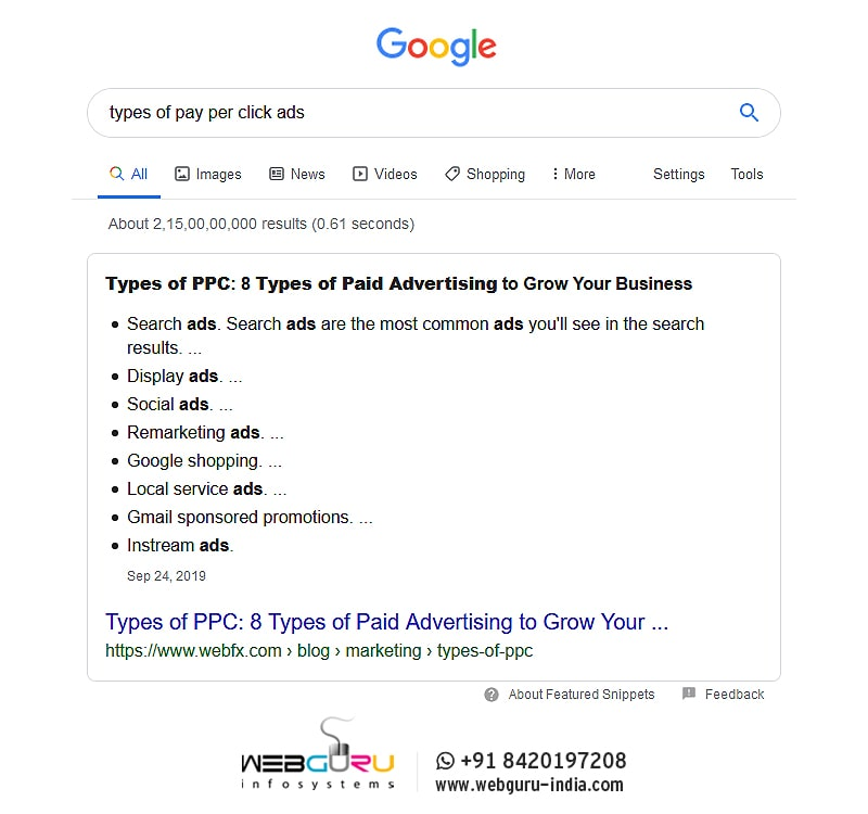 Bullet List Featured Snippet